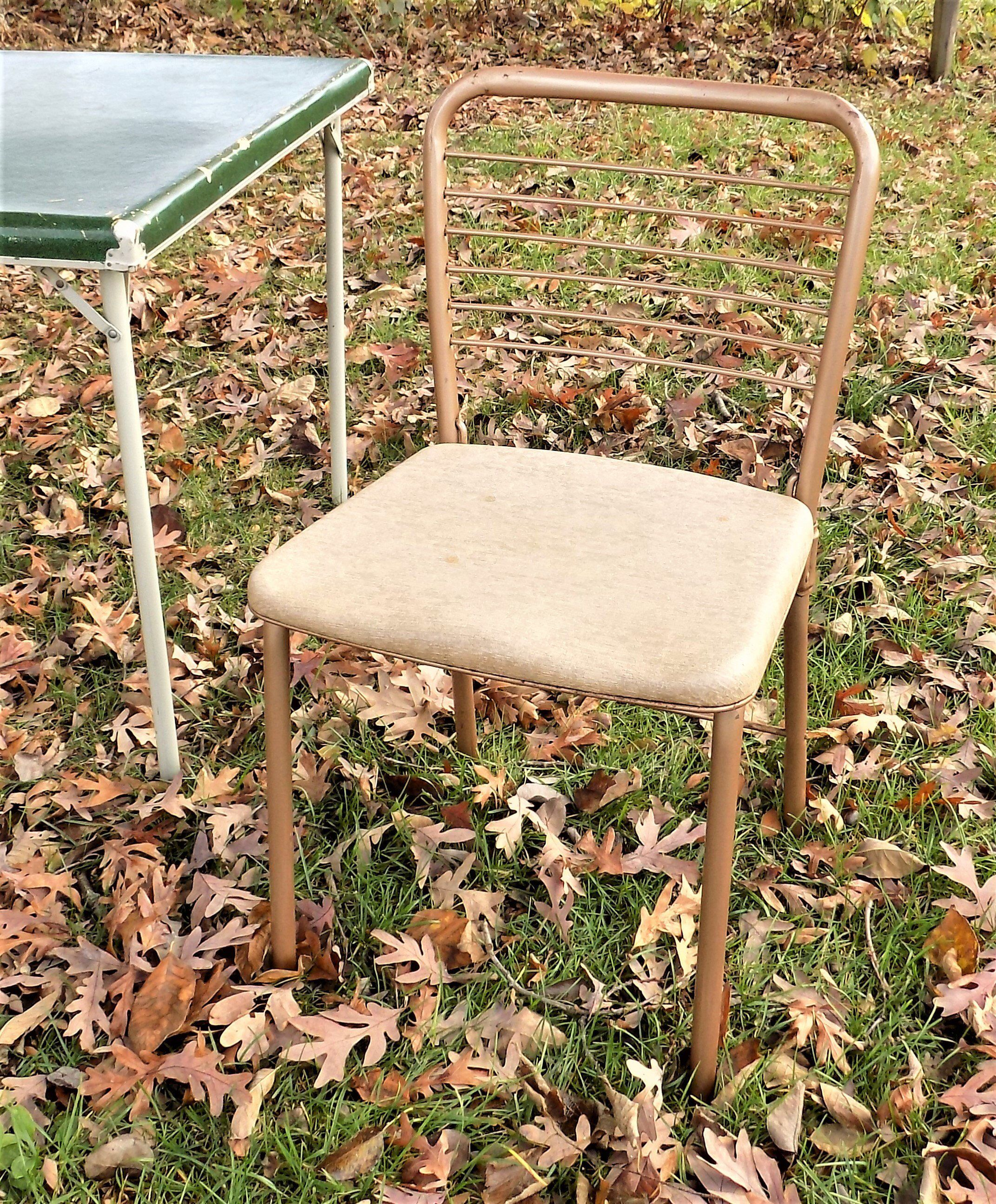 Hamilton cosco gatefold chair tan and gold vintage mid