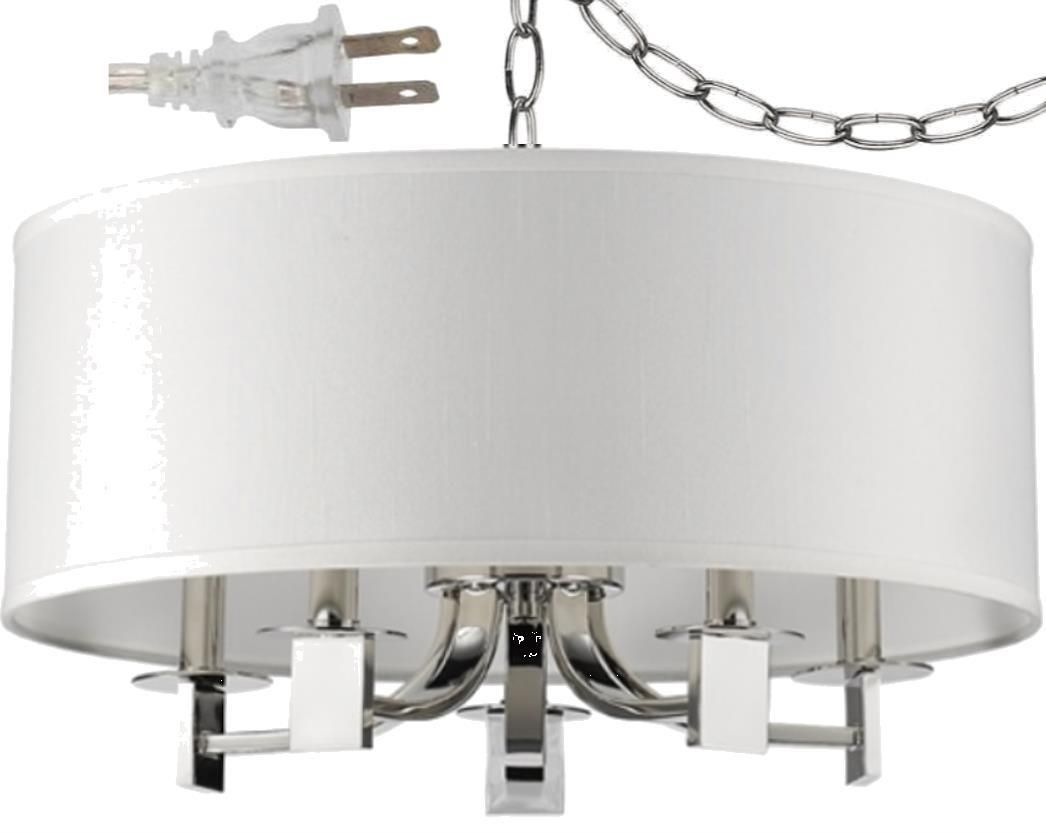 Andrea Polished Nickel White Drum Plug In Pendant Light 20 Wx13 H