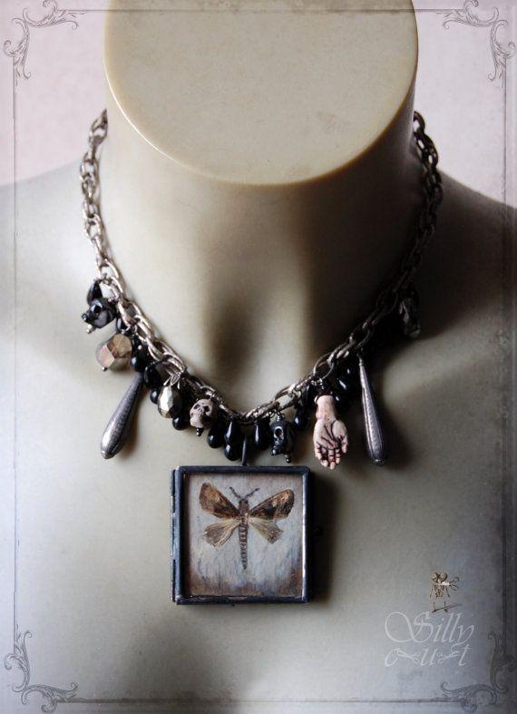 choker  Vanitas  gothic moth locket victorian от sillycut на Etsy