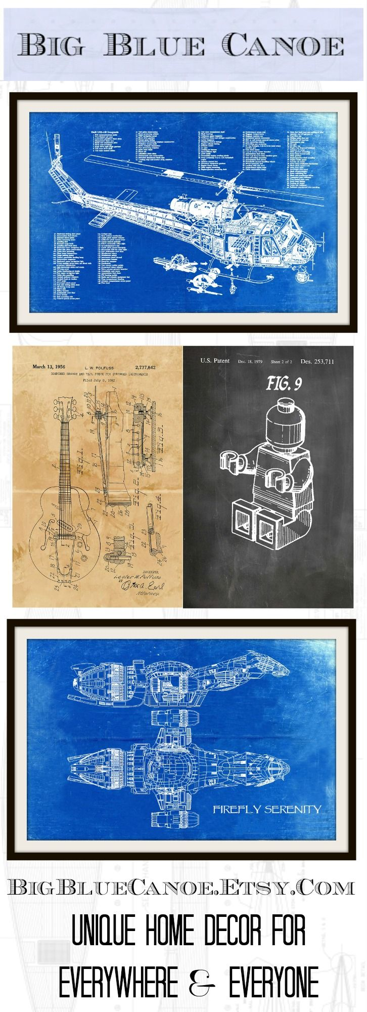Big blue canoe supplying blueprints technical prints and patents blueprint art patent posters vintage ads and more malvernweather Gallery