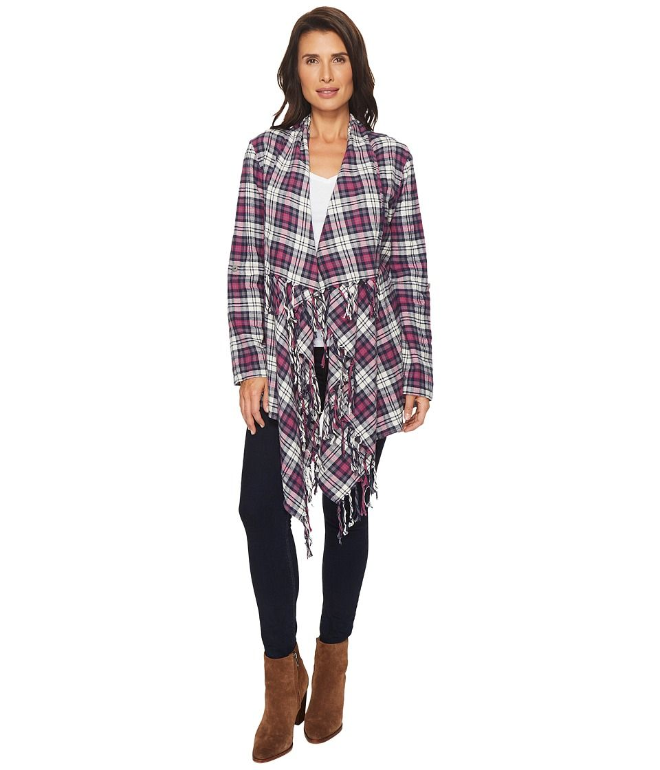 Flannel cardigan womens  Mododoc Thistle Flannel Fringe Cardigan Womenus Sweater Thistle