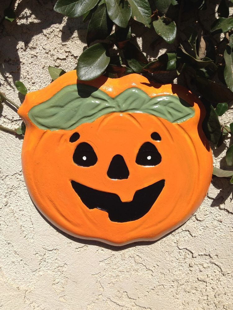 Handcrafted cement Jack O\u0027 Lantern Halloween yard/garden art Indoor