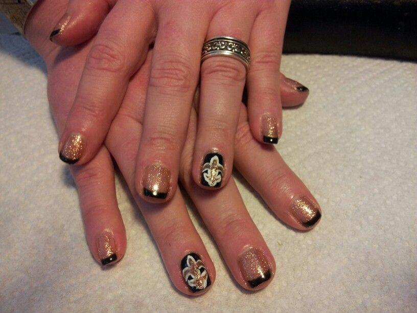 Fleur de lis. New Orleans saints nails! | It\'s time for Who Dat ...