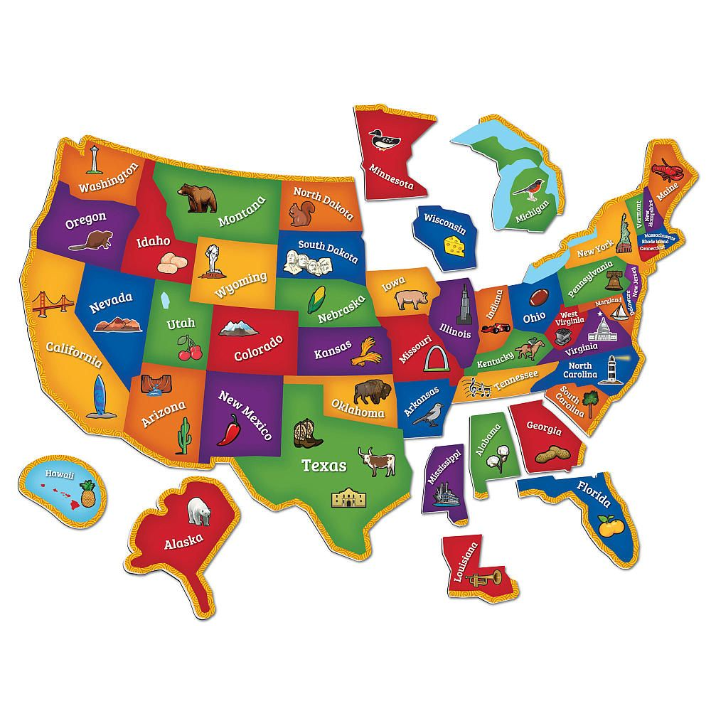 Learning Resources Magnetic US Map Puzzle Piece Student - Us map georgia puzzle