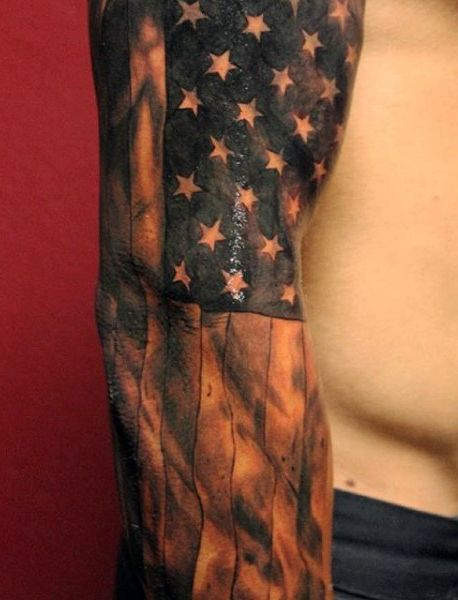 Black And White American Flag Tattoos For Males Sleeves Tat