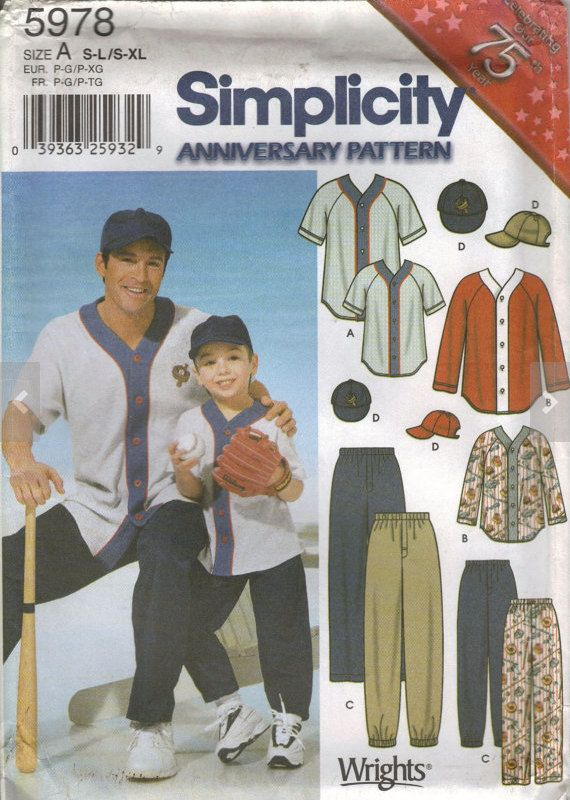 BASEBALL UNIFORM Sewing Pattern - Men & Boys Costume Simplicity 5978 ...