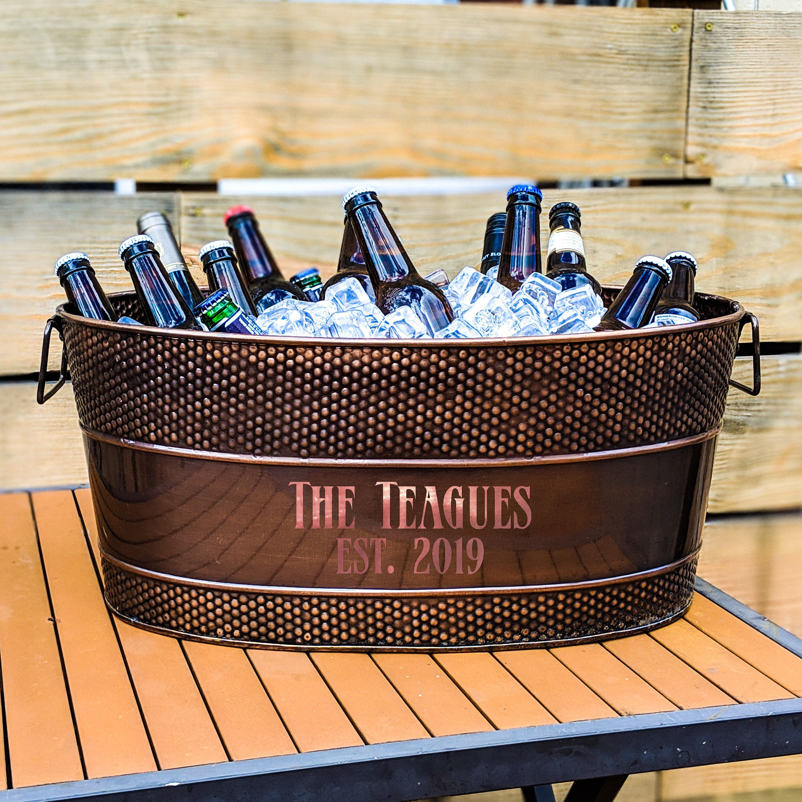 Personalized copper beverage tub ice bucket for wedding
