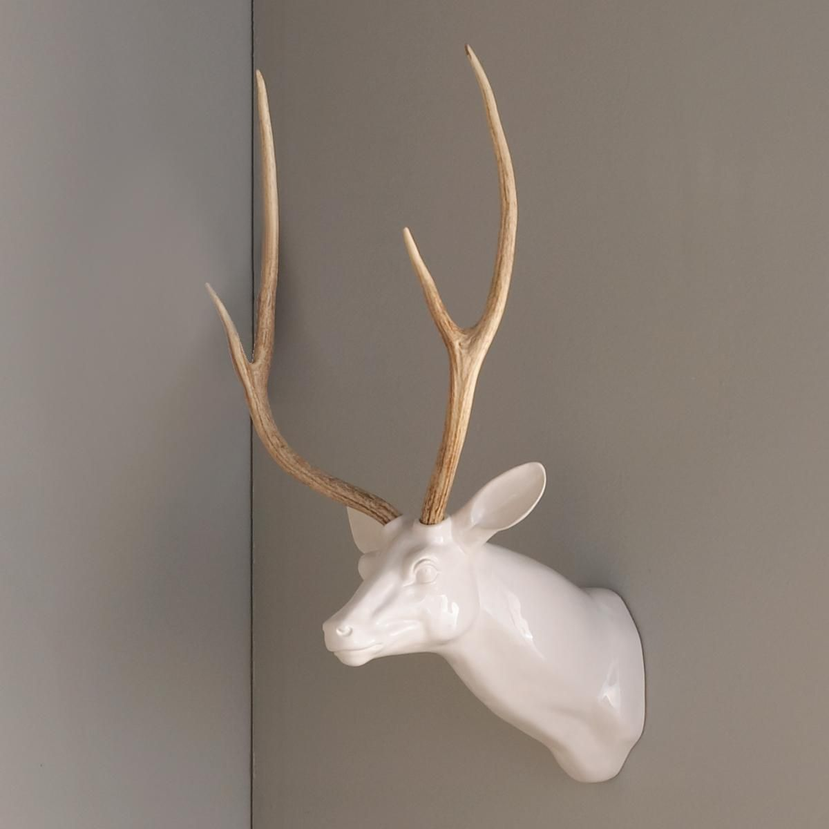 White Porcelain Deer Head Decorative Ceramic Wall Deer Head Erica Cerulo Cerulo