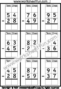 2 Digit Borrow Subtraction – Regrouping – 6 Worksheets   Printable ...