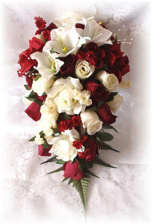 8pc Wedding Bouquets Bridal Silk Flowers Burgundy Cream Ivory Roses ...