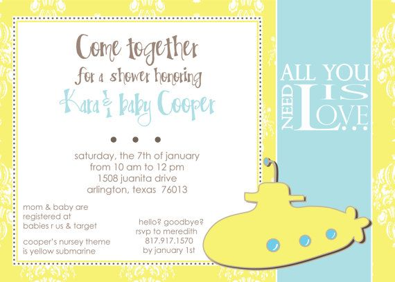 Yellow Submarine Baby Shower Invitation By Notablynoted On Etsy