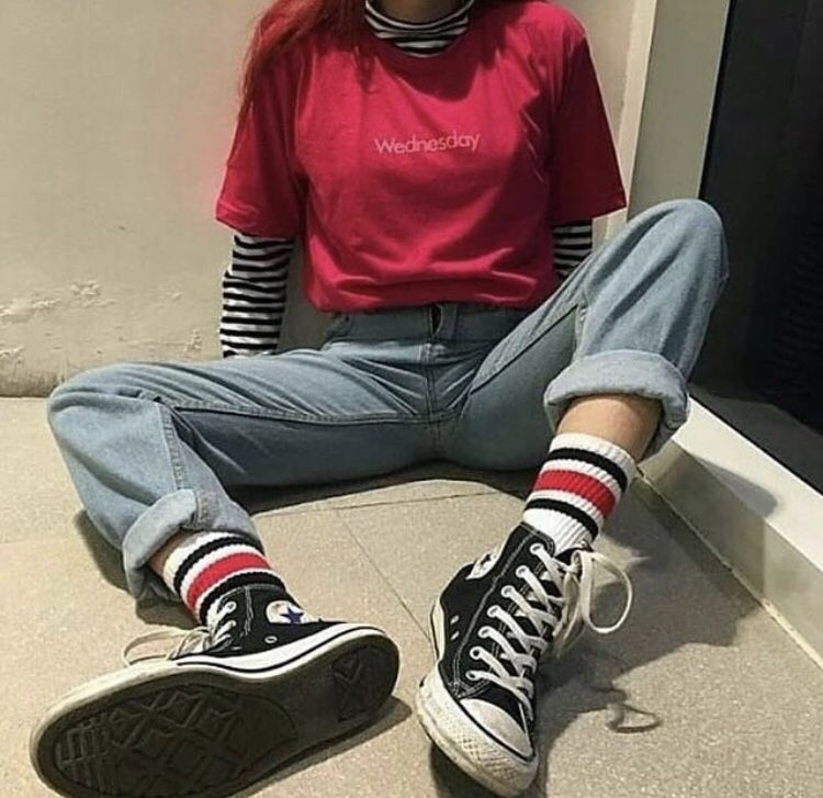 layers stripedshirt jeans converse grunge outfits