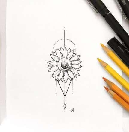 Best Tattoo Female Delicate Sunflower Ideas  #tattoofeminin - tattoo feminina