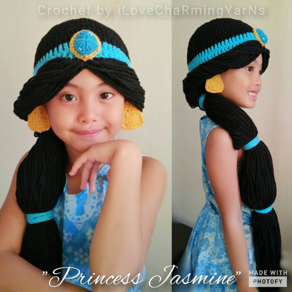 74db3dacd7b Princess jasmine wig crochet hat