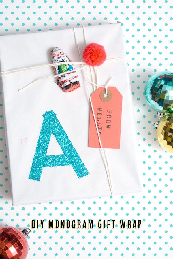 DIY Monogram Glitter Gift Wrap