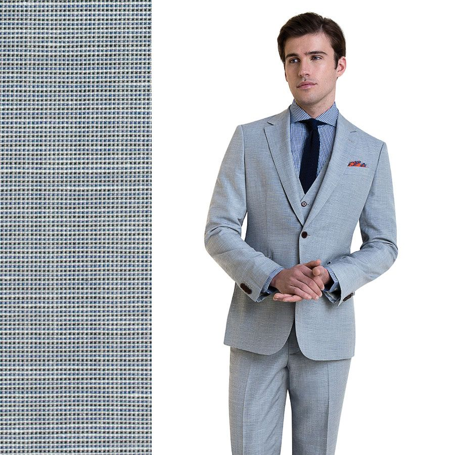 Light Gray Linen Blend Custom Suit
