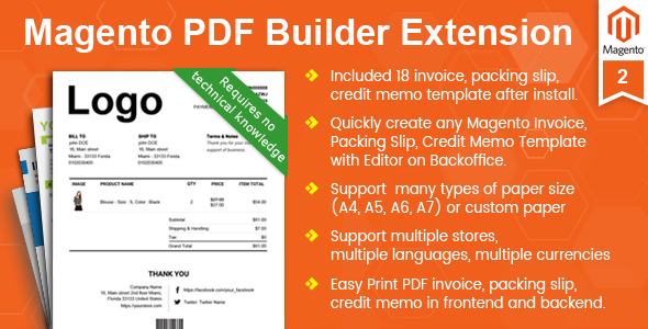 Magento Pdf Invoice Packing Slip Credit Memo Template Builder