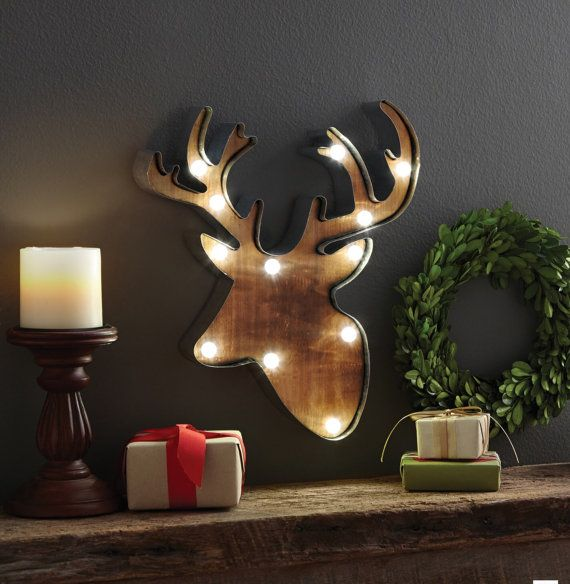 Led Sign Home Decor: Deer Head Lighted Wall Decor Galvantized Steel LED MARQUEE