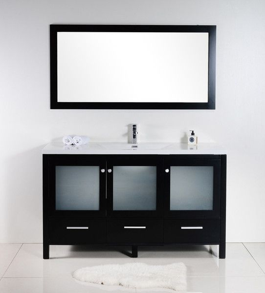 Brezza 60 Black Frosted Glass Bathroom Vanity Single The