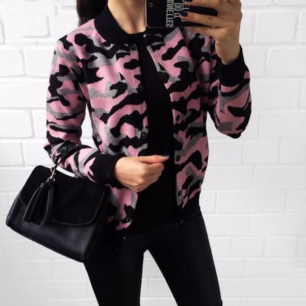 Camouflage Knitted Cardigan