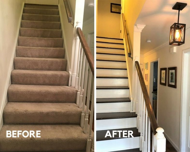 How To Change Stairs From Carpet To Wood Diy Wood Floor Stairs Diy Stairs Stair Makeover