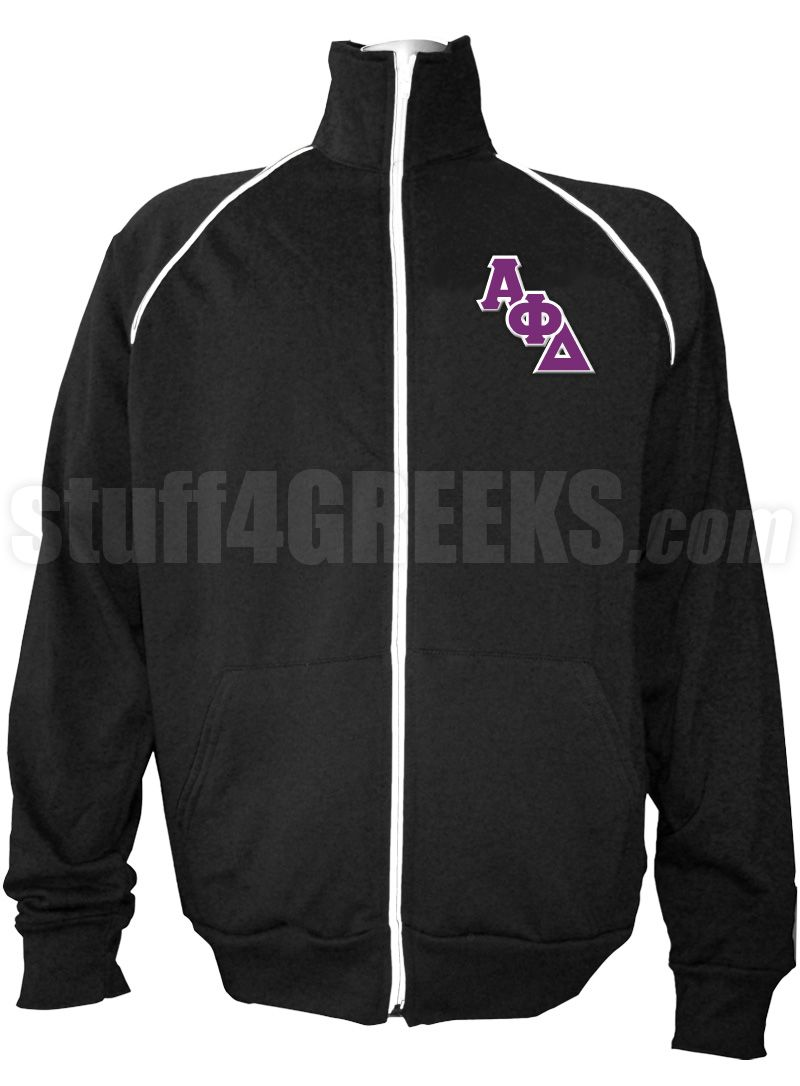 Black Alpha Phi Delta track jacket with logo letters on the left breast.