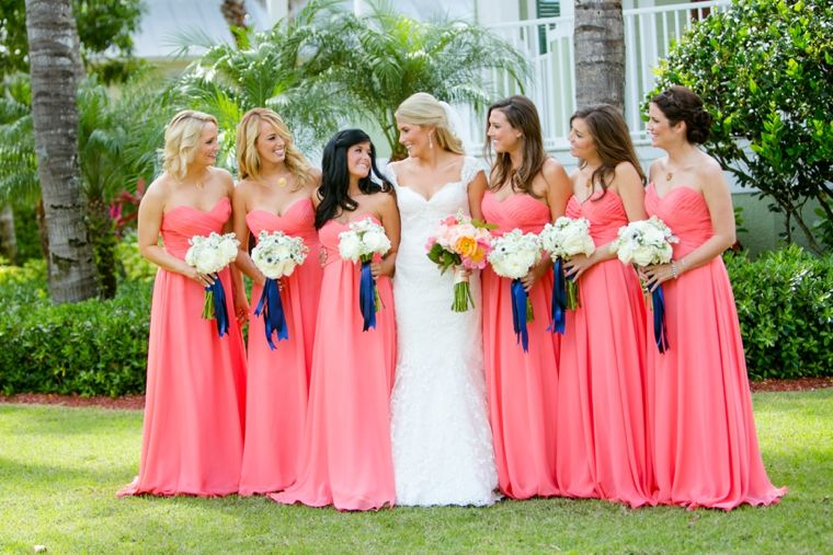 Navy And Coral Wedding.An Elegant Navy And Coral Wedding Bridesmaids Coral Wedding