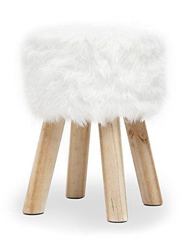 suhu tabouret ottoman fausse fourrure blanc bois moderne avec 4 pieds 28 x 28 x 40cm decoration salon pinterest