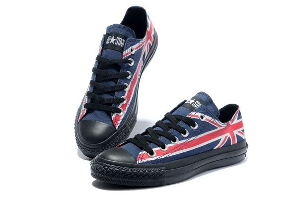a46679fed0eb Converse UK Flag Low Top Blue Canvas White Red Flag Shoes
