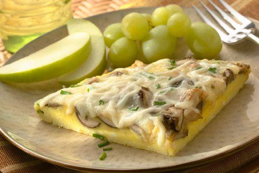 Mushroom, garlic and mozzarella omelet.