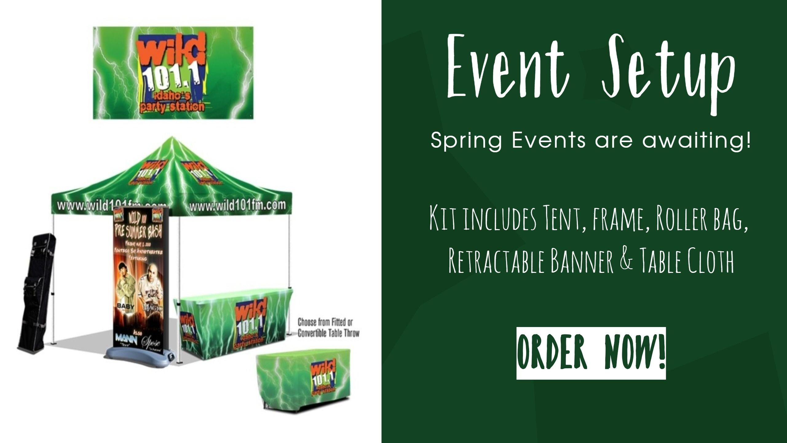 Event Setup Kit Features 1 10x10 Tent Full Digital Frame 1 Tent Roller Bag 1 Double S Retractable Banner Stand Trade Show Display Custom Digital Prints