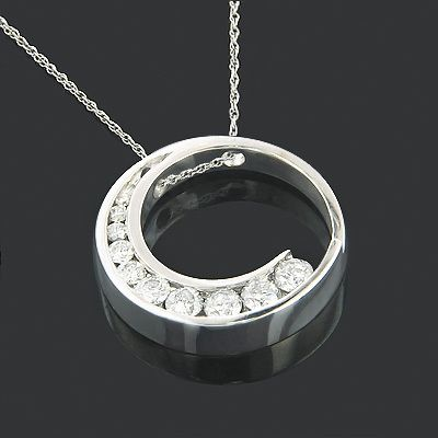 14k Gold Journey Diamond Pendant Circle 0 96ct Diamond Pendant Gold Diamond Jewelry Diamond