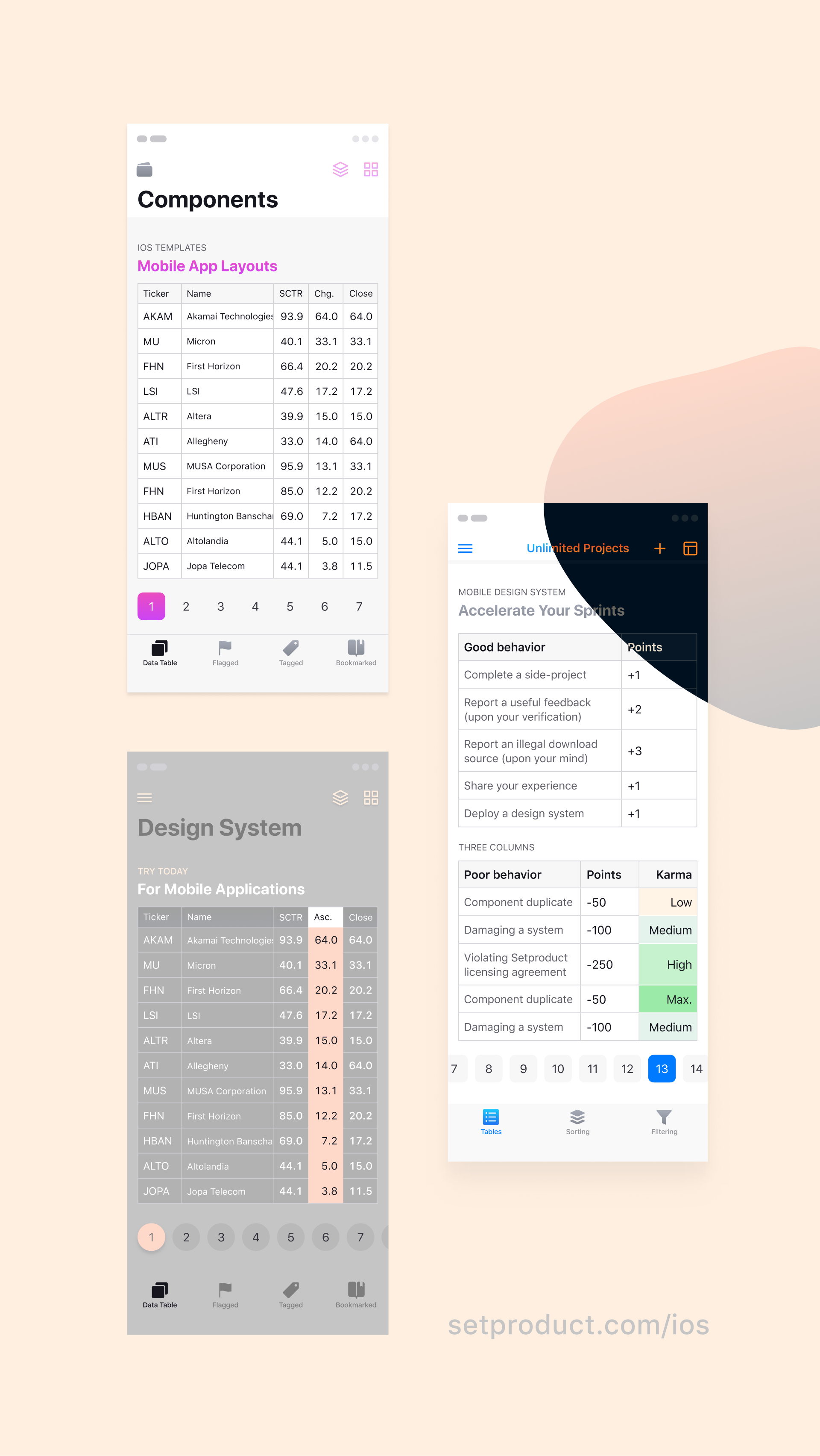 This is re-styled data tables for mobile apps New layouts — iOS