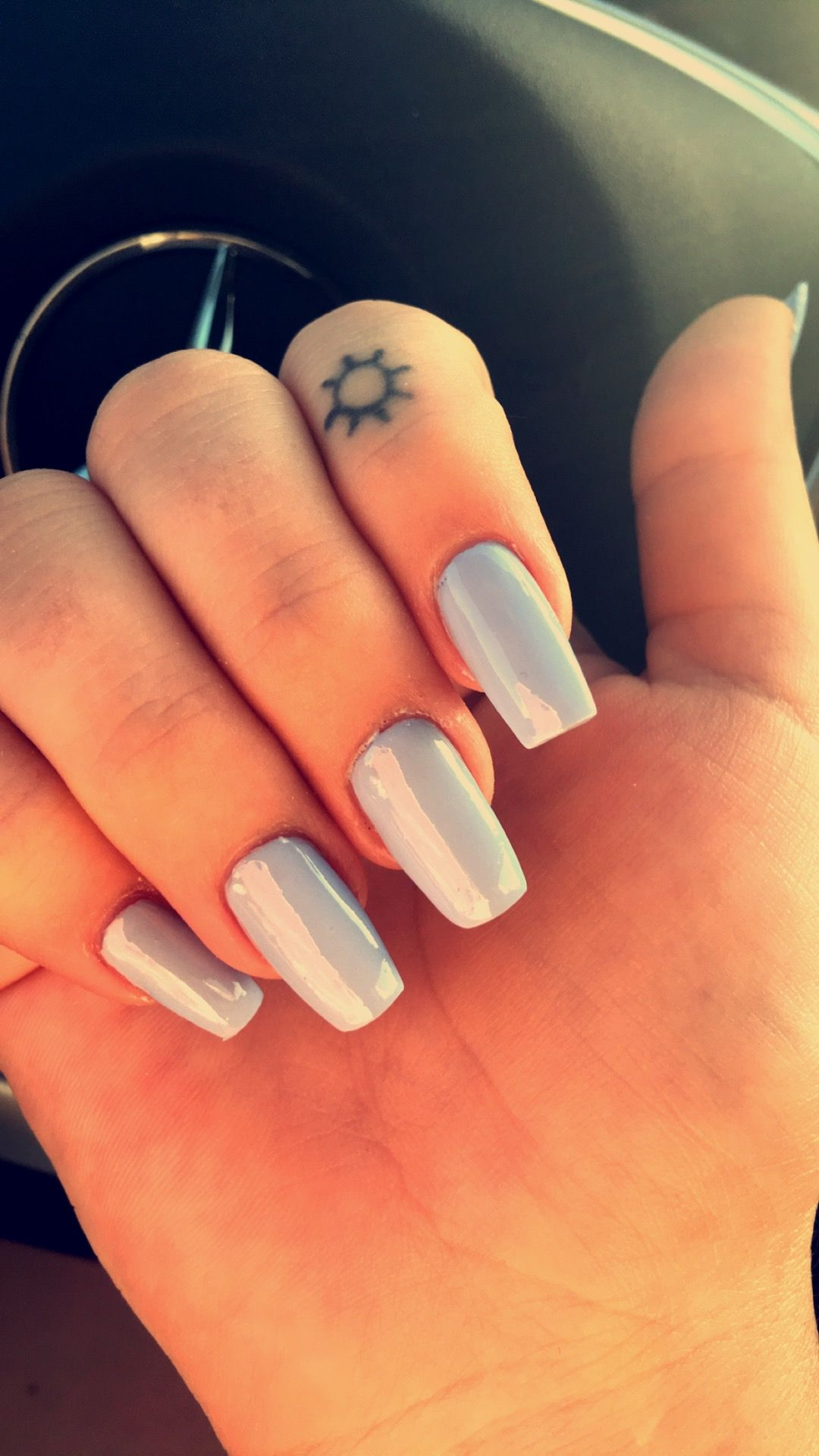 light blue tapered square shaped nails. perfect spring color ...