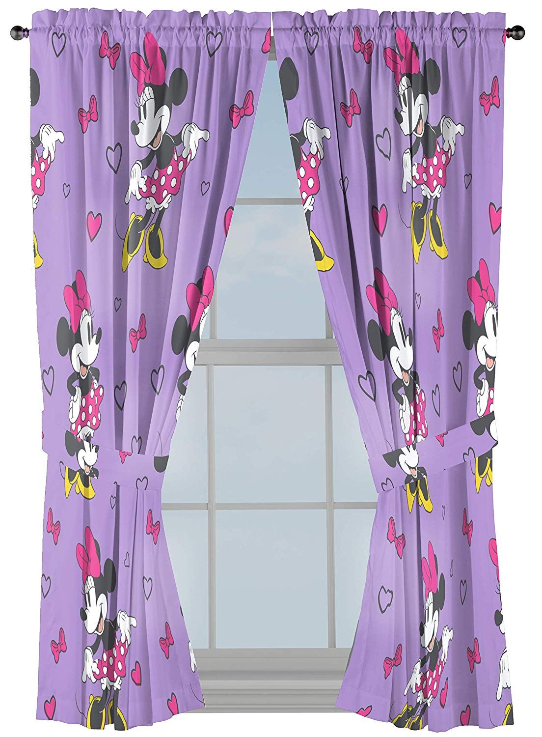 "Jay Franco Disney Minnie Mouse Purple Love 63"" inch Drapes"