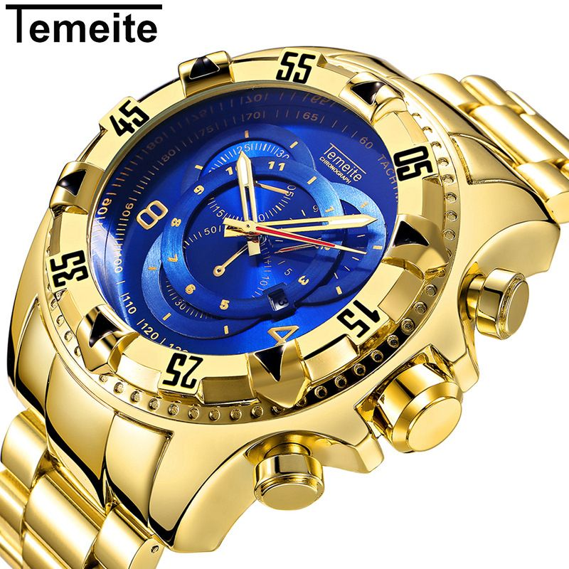 83348edc2f7 Top Luxury Gold Watch Men Big Watches Golden Stainless Steel Military  Wristwatch Big Dial Clock Male Army relogio masculino New   Price   47.99    FREE ...