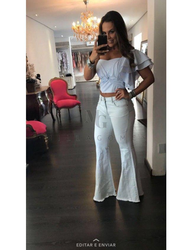 c6c600786 Calça Jeans Flare Clara com Barra Desfiada Acostamento | calcas em ...