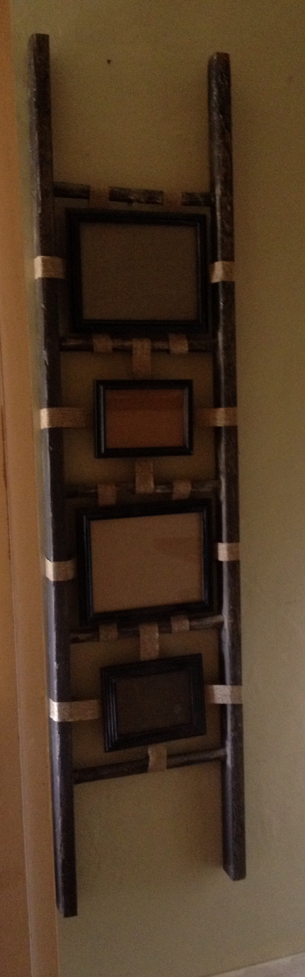 Wood Ladder Picture Frame Holder Gladding Farmhouse