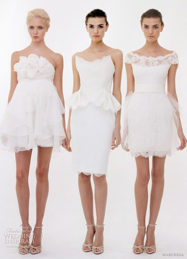 a22b3c99 Short wedding dresses — three pretty frock options for a bride who wants to  show off her legs.