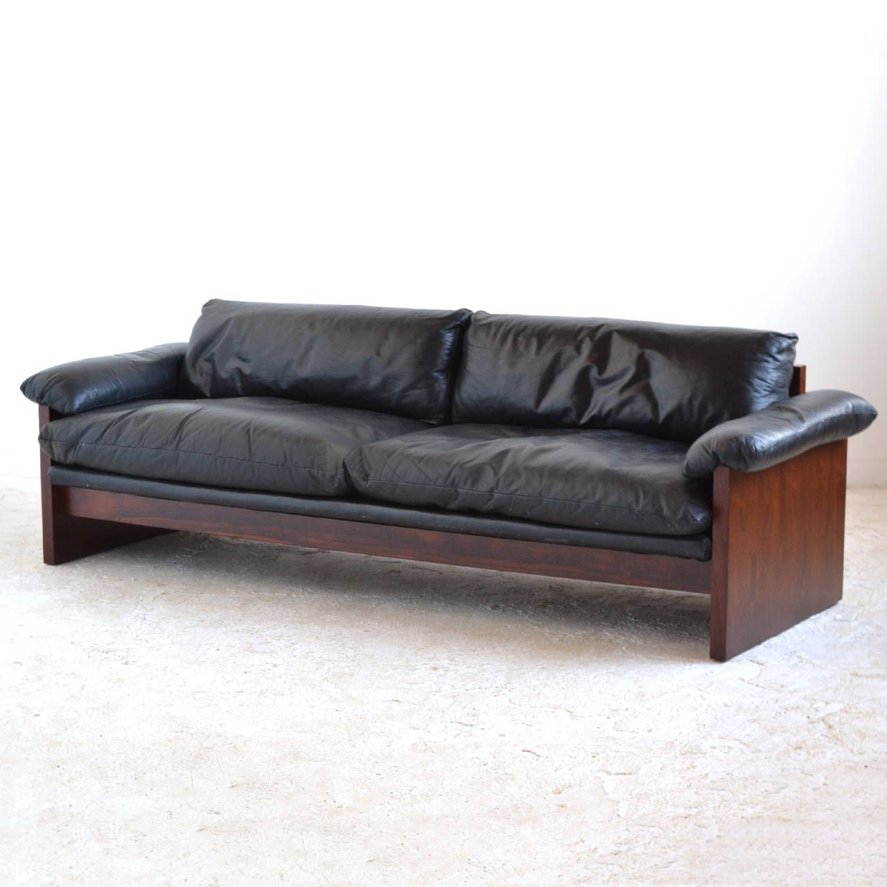 Rosewood Sofa With Down Filled Leather Cushions Image 6 Divan
