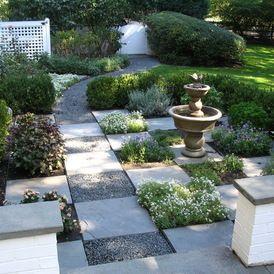 all e en damier m lange dalles et gravillons ambiance all e en 2018 pinterest jardins. Black Bedroom Furniture Sets. Home Design Ideas