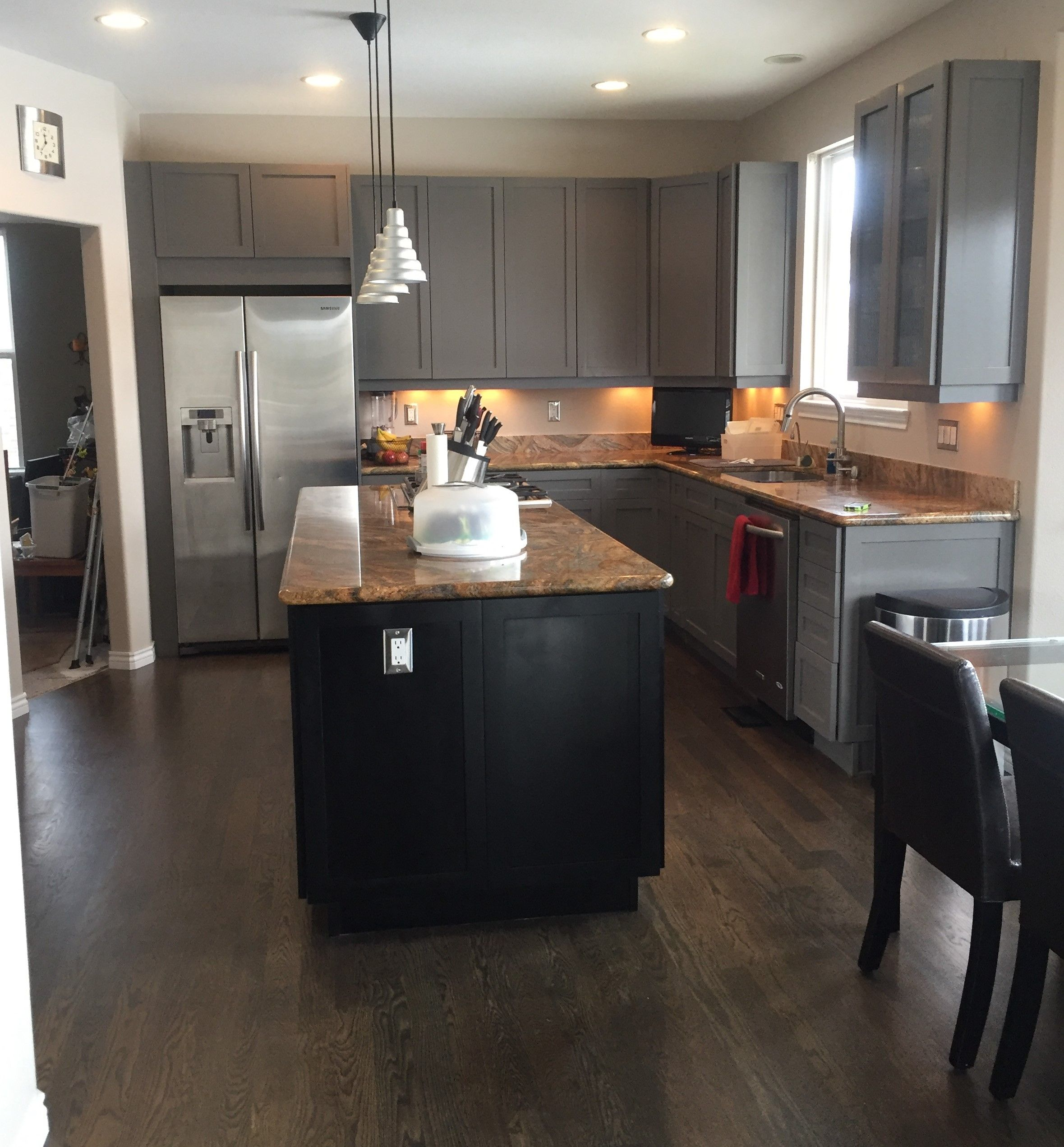 Gray And Black Kitchen Cabinets In 2020 Kitchen Refinishing Black Kitchen Cabinets Black Kitchens