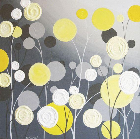 Wall Art Textured Yellow and Grey Abstract door MurrayDesignShop