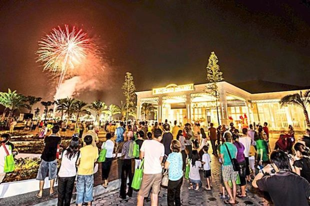 Wowing visitors: The launch of EcoWorld's show villages ended on a high note with a dazzling two-minute fireworks display.