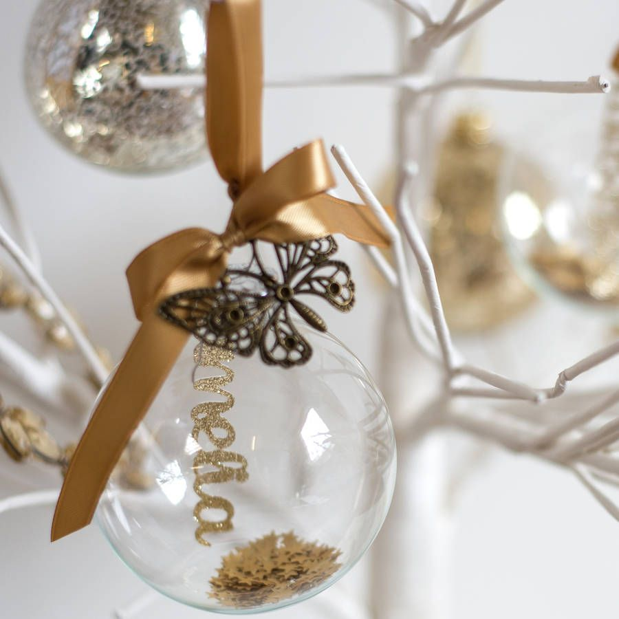 Personalised Papercut Glass Bauble | Glass, Christmas baubles and ...