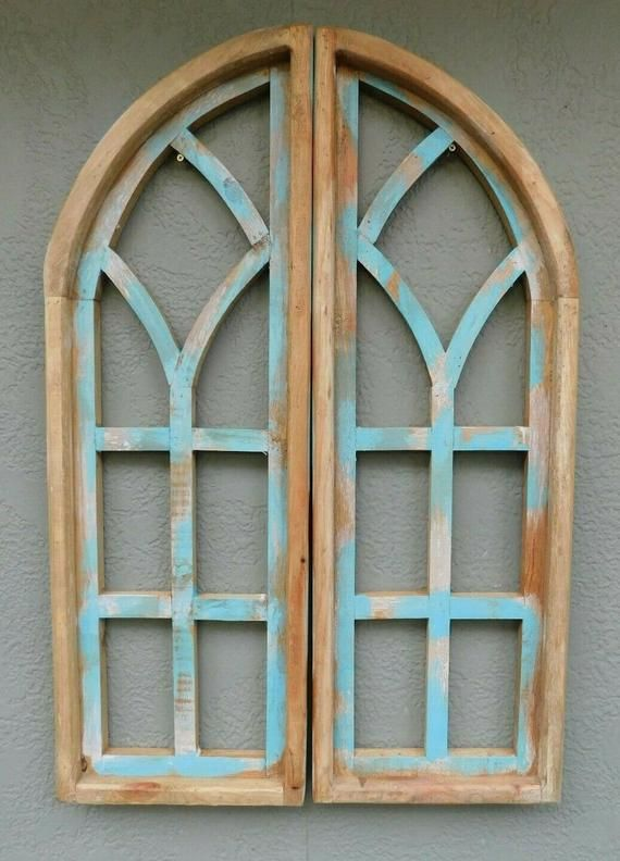 2 Wooden Antique Style Church Window Frame Shutters Wood Gothic 35 3 4 Shabby Church Windows Cast Iron Decor Wooden Window Frames