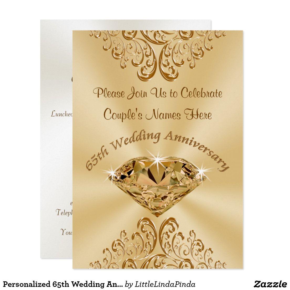 Personalized 65th Wedding Anniversary Invitations Zazzle
