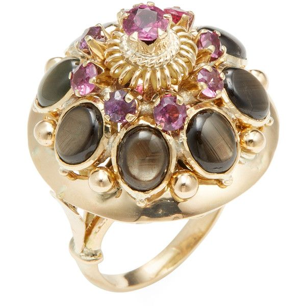 Estate Fine Jewelry Women's Estate 14K Yellow Gold, Ruby & Black Star... ($665) ❤ liked on Polyvore featuring jewelry, rings, multi, 14k yellow gold ring, 14k gold ring, vintage gold rings, vintage sapphire rings and 14 karat gold ring