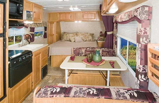 Palomino Gazelle micro-lite travel trailer interior - G215 model looking forward