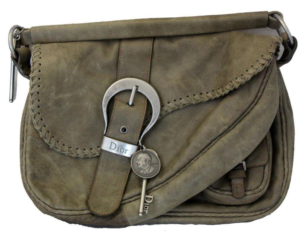 Authentic Dior Gaucho Leather Saddle Bag